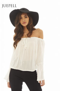off Shoulder Loose Beach Summer Women Blouse pictures & photos