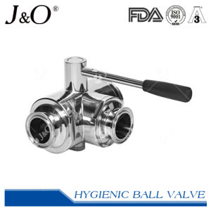 Three-Way Sanitary Stainless Steel Butt Weld Ball Valve pictures & photos
