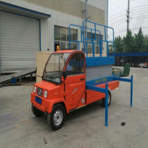 Aerial Working Trailer Electric Mobile Hydraulic Scissor Lift Platform with Four Supporting Wheels pictures & photos