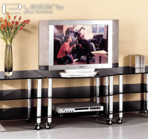 10mm Grey Glass TV Stand with Aluminium Alloy pictures & photos