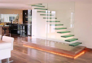 Tempered Glass Panel Stairs, Invisible Stringer Glass Stair/Staircase, Floating Glass Stairs/Staircase Price pictures & photos