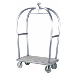 Hotel Lobby Luxury Baggage Trolley with Silver Chrome Finish pictures & photos