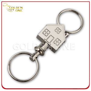 Fancy Design Pull Apart House Shape Engravable Metal Key Ring pictures & photos