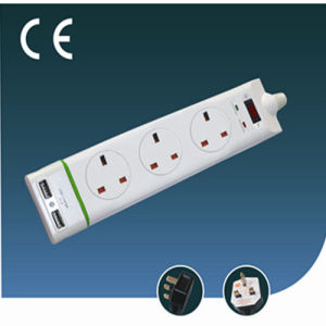 Three Ways Surge-Proof British Extension Electrical Socket with USB with Switch
