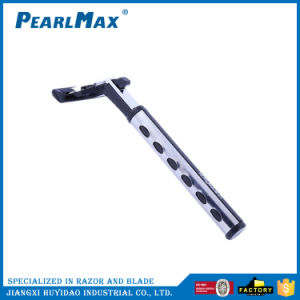 Metal Straight with Rubber Handle Triple Blades Disposable Razors pictures & photos