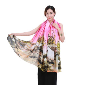 Chinese Style Classic Printed Polyester Large Scarf pictures & photos