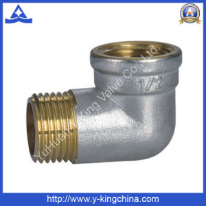 FM Brass Color Elbow Threaded Coupling Fitting (YD-6061) pictures & photos