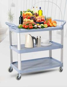 Plastic Three Layers Service Trolley for Restaurant (FW-64) pictures & photos