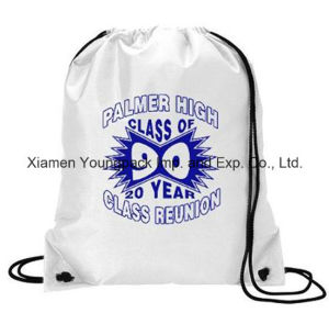 Custom White Waterproof 210d Polyester Nylon Gym Sack Drawstring Bag pictures & photos