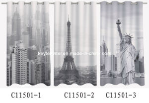 Popular Digital Print Organza Voile Curtain with 8 Rings (C11501)