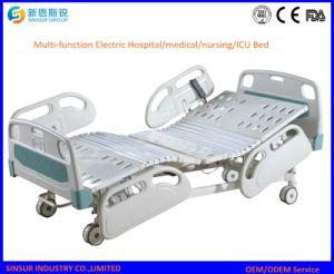 Nursing Multi-Function Adjustable Electric Hospital Bed with Plastic Side Rail pictures & photos