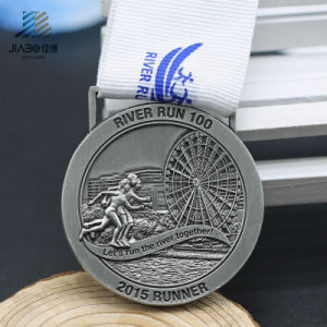 3D Antique Silver Customize Round Marathon Metal Trophy Medals pictures & photos