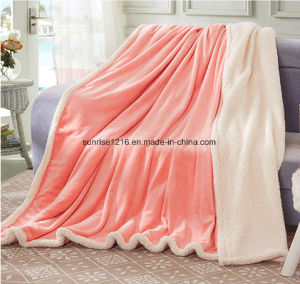 Winter Blanket Sr-B170212-38 Solid Flannel with Sherpa Blanket pictures & photos
