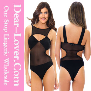 Black Mesh Cut-out Bodysuit pictures & photos