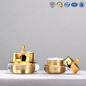 15g 30g 50g Luxury Gold Crown Shaped Plastic Acrylic Cosmetic Cream Jar pictures & photos
