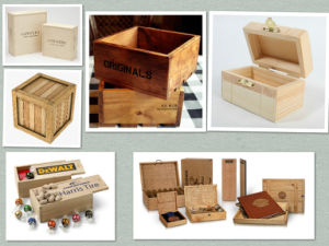 Pine Wood Box with Burn Printing for Promotion pictures & photos