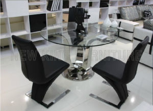 Modern Round Shape Stainless Steel Leg Toughened Glass Top Dining Table (NK-DT068)