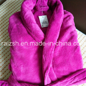 Solid Thickened Flannel Nightgown Bathrobe Home Clothes pictures & photos