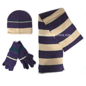 2015 Fashion Winter Knit Hat Glove Scarf Set pictures & photos