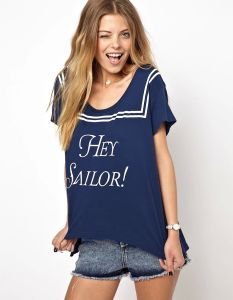 Navy Wind Letter Print Round Collar Cotton Women T Shirt pictures & photos