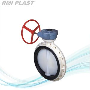 Worm Gear Drive PVDF Butterfly Valve for Chemical Industrial pictures & photos