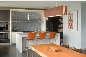 2015 Welbom Modern Grain Wood Veneer Kitchen Cabinet pictures & photos