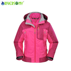 Women′s Pongee/PU Breathable 3 in 1 Outdoor Jacket with Fully Taping Seams pictures & photos