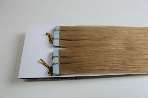 European Remy Double Drawn Double Sided Blue Tape Hair Extension pictures & photos