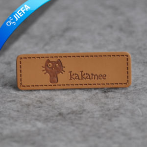 Custom Embossed PU Jeans Leather Patch for Clothing pictures & photos