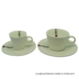 Custom Logo Ceramic Tea Cup Porcelain Coffee Mug with Saucer pictures & photos
