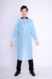 Disposable Thumb up Cuff CPE Gown Plastic Gown pictures & photos