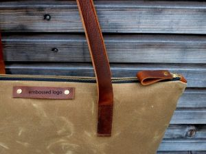 Custom High Quality Waxed Canvas Tote Bag Leather Strap pictures & photos