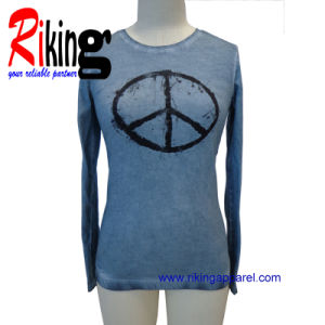Fashion Ladies Wear, Dirty Wash Printing T Shirt (RKT13101)