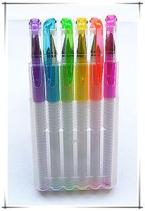 6 PCS PP Box Packing White Barrel Colorful Glitter Pen (m-201)