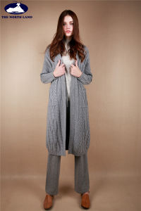 Cashmere Long Cardigan with Cables pictures & photos