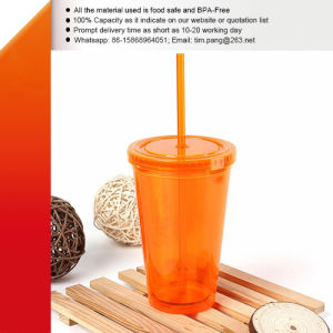 Plastic Acrylic Travel Mug with Straw pictures & photos