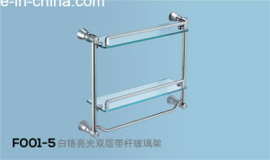 Chrome Glass Towel Shelf/ Double Steel Glass Layer (F001) pictures & photos