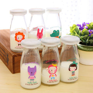 Milk Pudding Glass Bottles with Different Decal pictures & photos
