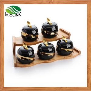 5 Pieces Ceramic Seasoning Pot with Bamboo Rack pictures & photos