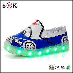 Slip-on LED Light up Children Dance Gold Low Heel Girls Glitter LED Light Shoes for Kids pictures & photos