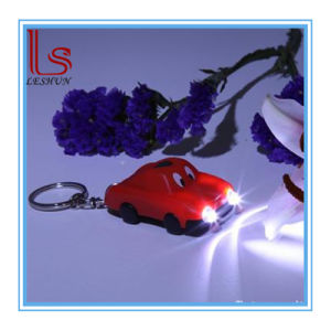 Customed Promotional Plastic Solar Power Cartoon Flashlight Car Key Chain with 2 LED pictures & photos