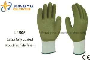 Polyester Shell Latex Fully Coated Safety Work Glove (L1605) pictures & photos