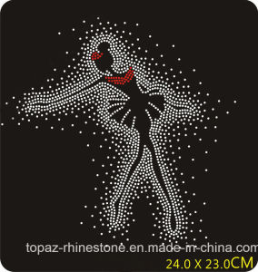 Dance Girl Iron on Crystal Heat Transfer Motif Rhinestones Hot Fix Motif for Dance Dress (TP-122 dance girl) pictures & photos