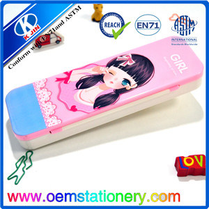 21.5*7*2.8cm Pink Double Layer Customized Plastic Pencil Case