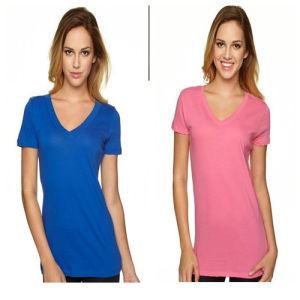 100% Cotton Ladies V-Neck T-Shirt pictures & photos