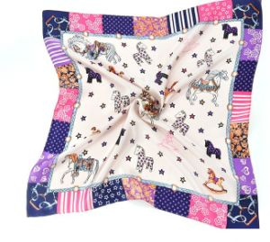 New Design Fashion Women Square Silk Scarf pictures & photos