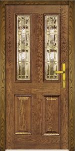 4 Panel Oak Fiberglass Door with Glass pictures & photos