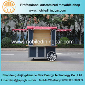New Model Hand Pushing Movable Food Cart Goods Selling Truck pictures & photos