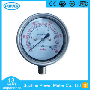 60mm 10kpa Stainless Steel Case Bottom Type Bellows Low Pressure Gauges pictures & photos