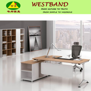 Modern Cheap L Shape Alloy Frame Melamine Office Manager Desk (WB-Seth)